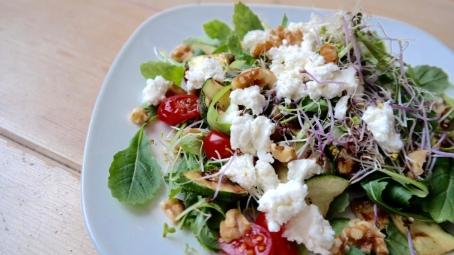 Salade met gegrilde courgette en groentekiemen