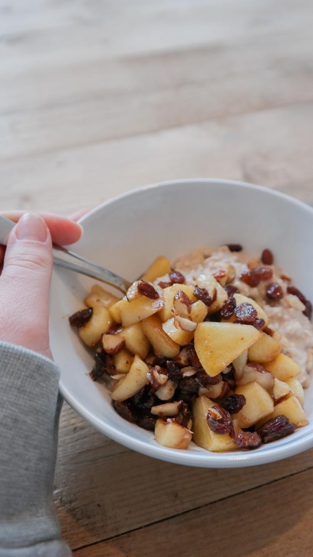 Porridge met gebakken appel